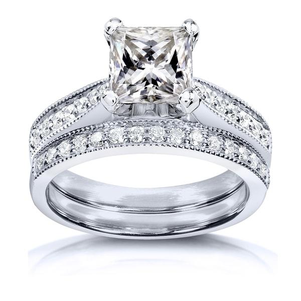 Annello by Kobelli Princess Moissanite and Diamond Vintage Bridal Set 2 1/8 CTW 14k White Gold