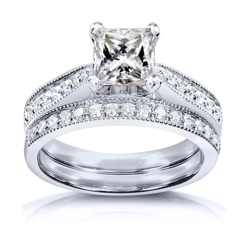 Annello by Kobelli Princess Moissanite and Diamond Vintage Bridal Set 1 4/5 CTW 14k White Gold