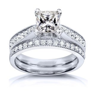 Annello By Kobelli Princess Moissanite And Diamond Vintage Bridal Set 1 4 5 CTW 14k White Gold