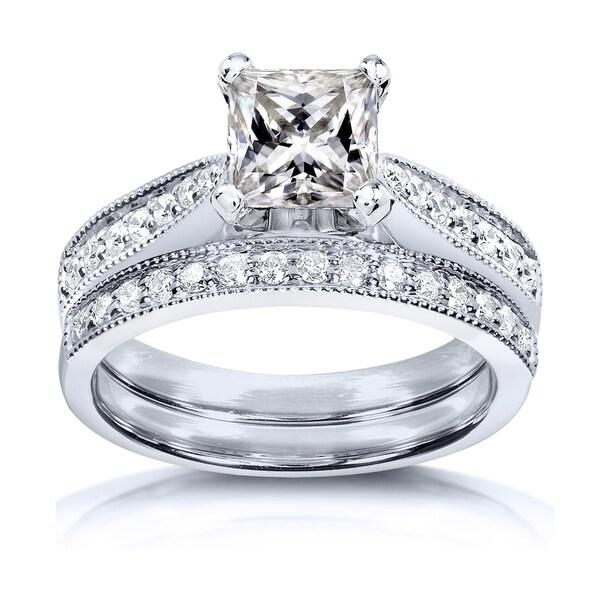 Annello by Kobelli Princess Moissanite and Diamond Vintage Bridal Set 1 4/5 CTW 14k White Gold