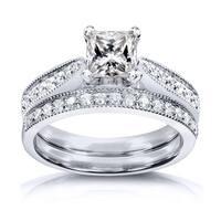 Annello by Kobelli Princess Moissanite and Diamond Vintage Bridal Set 1 1/4 CTW 14k White Gold