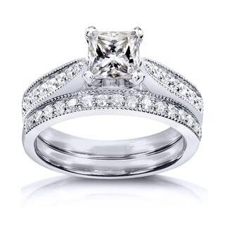 Annello by Kobelli Princess Moissanite and Diamond Vintage Bridal Set 1 1/4 CTW 14k White Gold