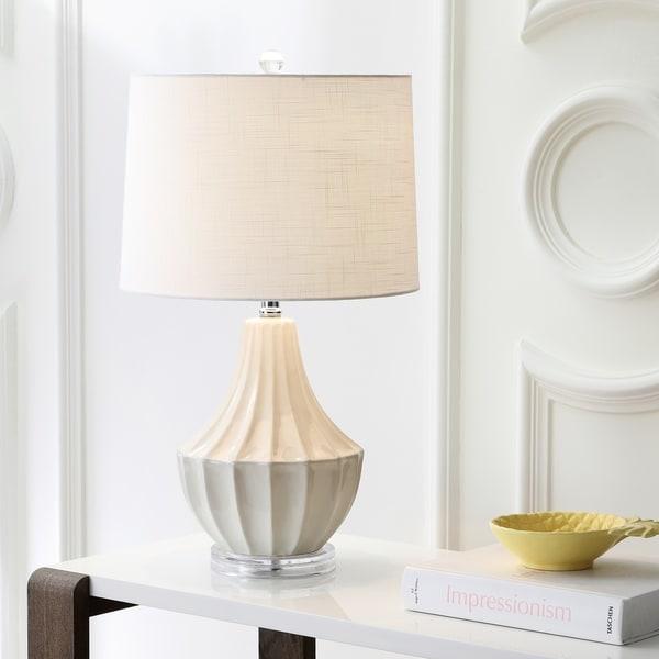 "Tate 24.5"" Ceramic LED Table Lamp, Cream"