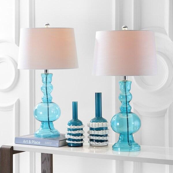 """Genie 28.5"""" Glass LED Table Lamp, Aqua (Set of 2)"""