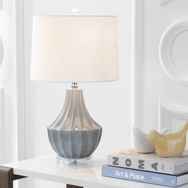 "Tate 24.5"" Ceramic LED Table Lamp, Gray"