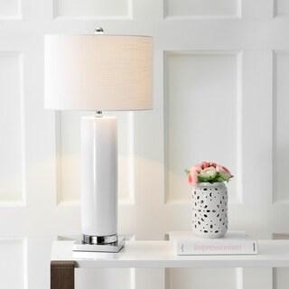 "Dallas 31.5"" Ceramic LED Table Lamp, White/Chrome"