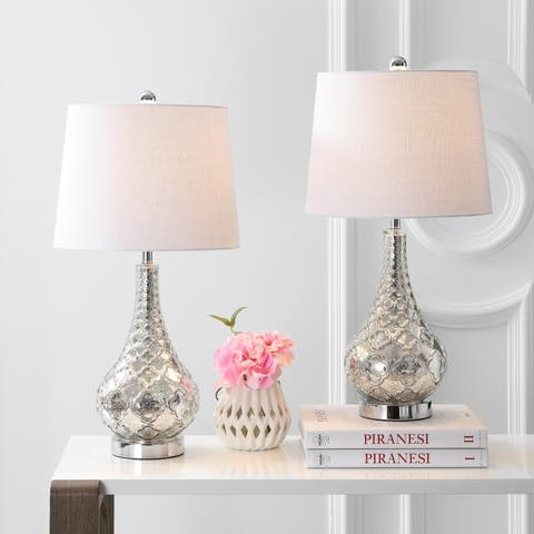 "Darren 25.5"" Glass LED Table Lamp, Mercury Silver (Set of 2) by JONATHAN Y"
