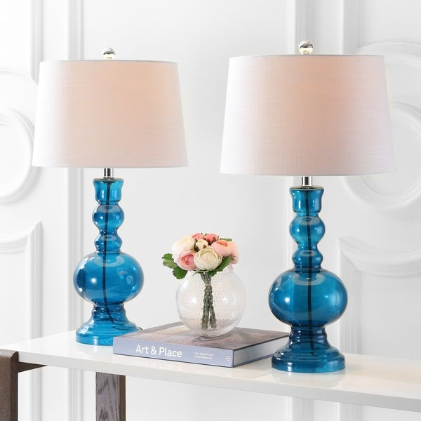 """Genie 28.5"""" Glass LED Table Lamp, Night Blue (Set of 2)"""