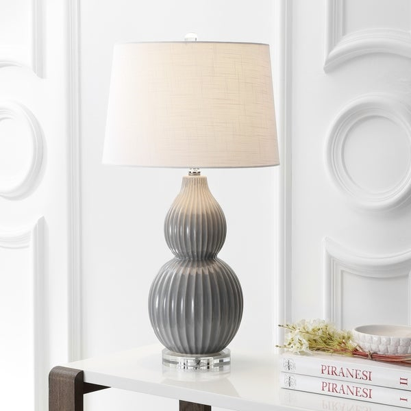 "Thatcher 28.25"" Ceramic LED Table Lamp, Gray"