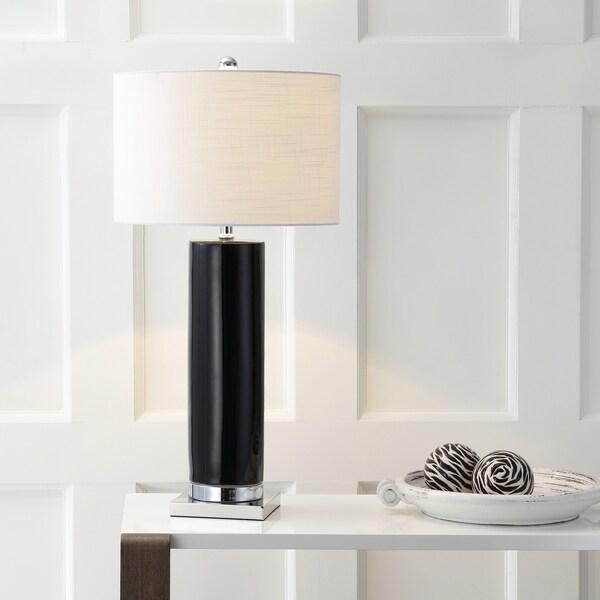 """Dallas 31.5"""" Ceramic LED Table Lamp, Black/Chrome"""