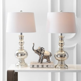 "Link to Genie 28.5"" Glass LED Table Lamp, Mercury Silver (Set of 2) by JONATHAN  Y Similar Items in Lamp Sets"