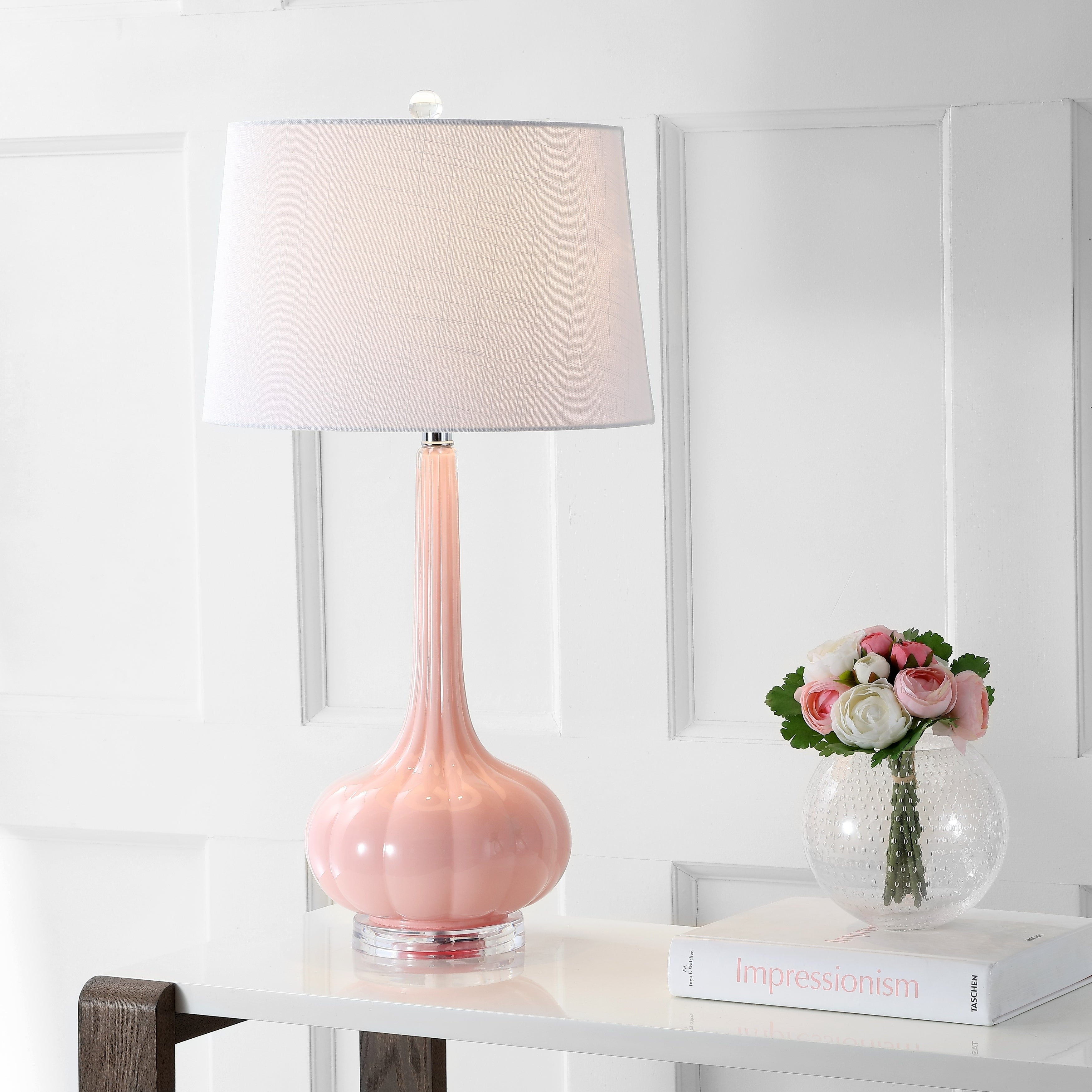 Bette 28 5 Glass Teardrop Led Table Lamp Pink Set Of 2 By Jonathan Y Overstock 20750375