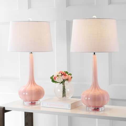 "Bette 28.5"" Glass Teardrop LED Table Lamp, Pink (Set of 2) by JONATHAN Y"