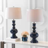 "Genie 28.5"" Glass LED Table Lamp, Navy (Set of 2)"