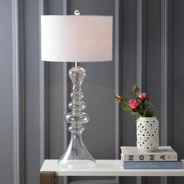 """Madeline 35"""" Curved Glass LED Table Lamp, Clear"""