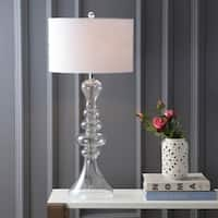 "Madeline 35"" Curved Glass LED Table Lamp, Clear"