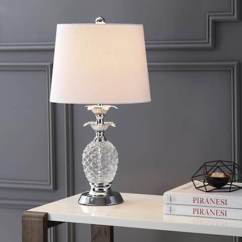 """Jane 24"""" Glass LED Table Lamp, Clear/Chrome by JONATHAN Y"""