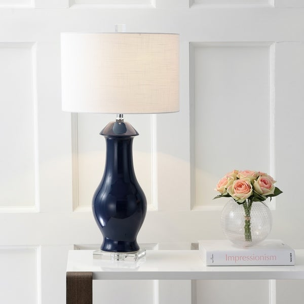 "Liberty 31"" Ceramic/Crystal LED Table Lamp, Navy/Clear"