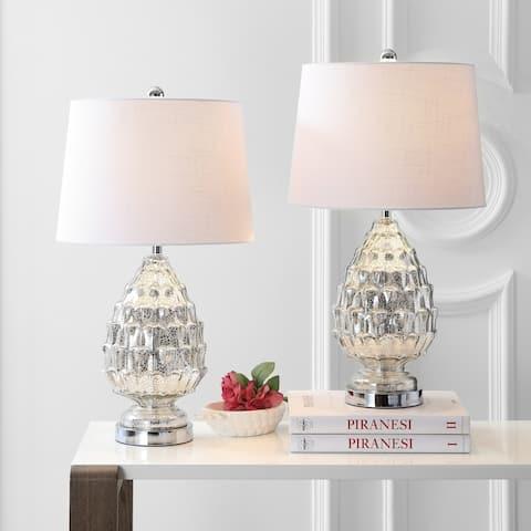 "Artichoke 25.5"" Glass LED Table Lamp, Mercury Silver (Set of 2) by JONATHAN Y"
