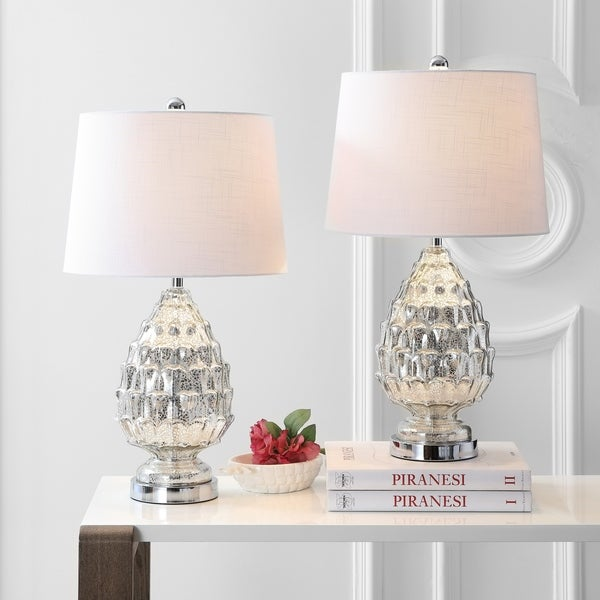 "Artichoke 25.5"" Glass LED Table Lamp, Mercury Silver (Set of 2)"
