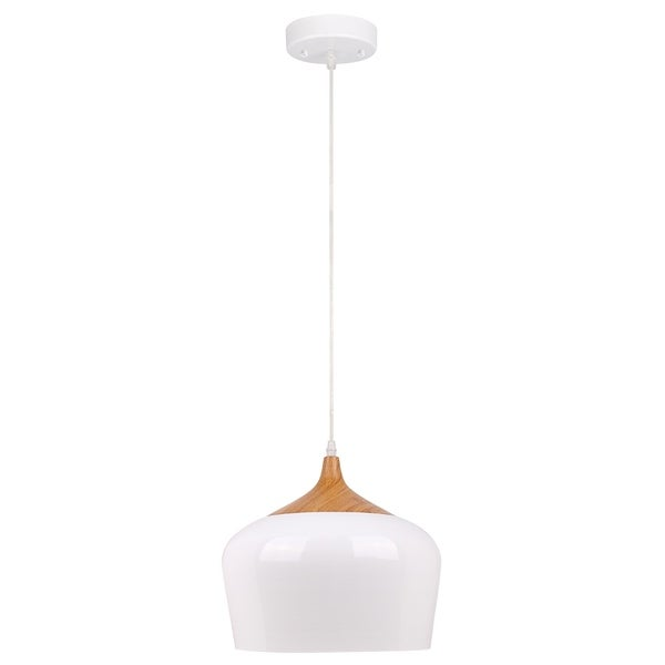Urbania 1-Light White and Wood Pendant Fixture