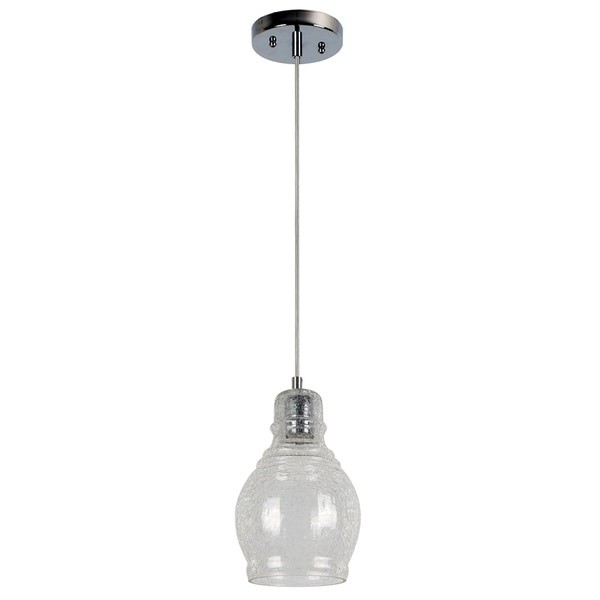 Vieste Collection Chrome Finish 1-Light Pendant Fixture Cracked Glass