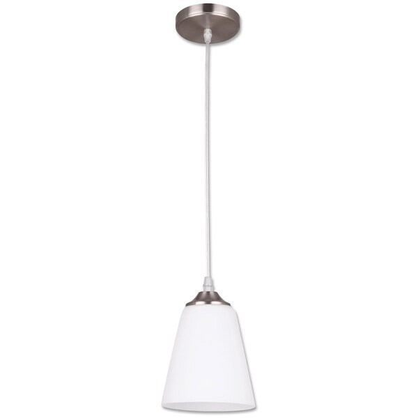 Seattle Collection, One Light Pendant Fixture, Satin Nickel Finish with Opal Glass