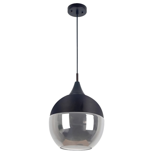 Poplin Collection 1-Light Chrome Pendant and Smoked Glass