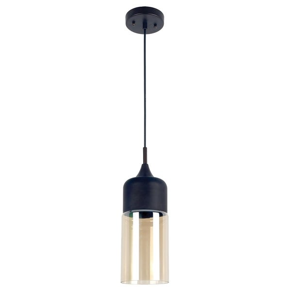Popoli Collection 1-Light Chrome Pendant and Smoked Glass