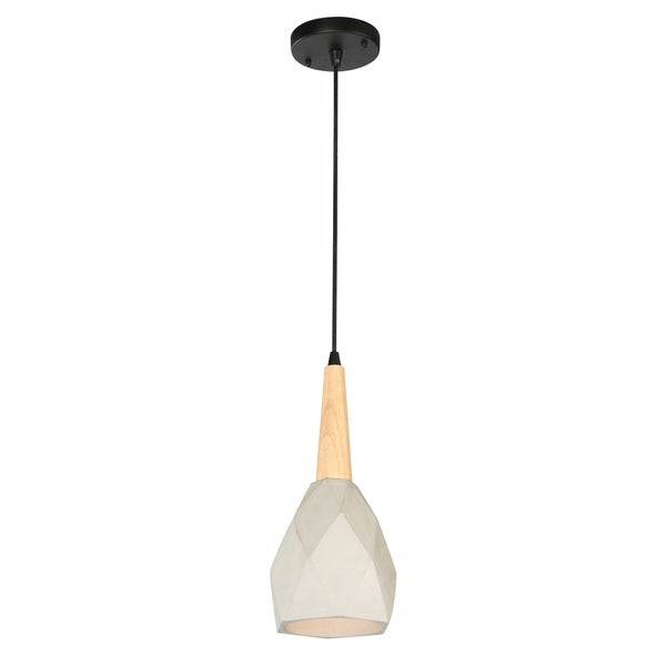 Ciment 1-Light Cement and Wood Pendant Fixture