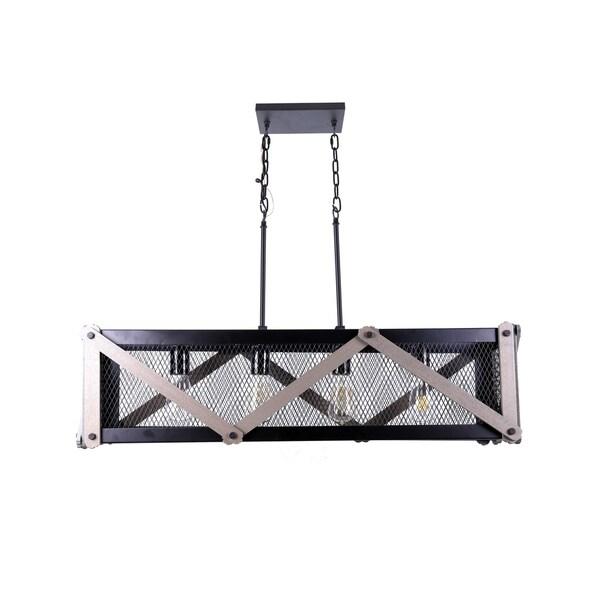 Wood 4-Lights Metal and Wood Pendant Fixture