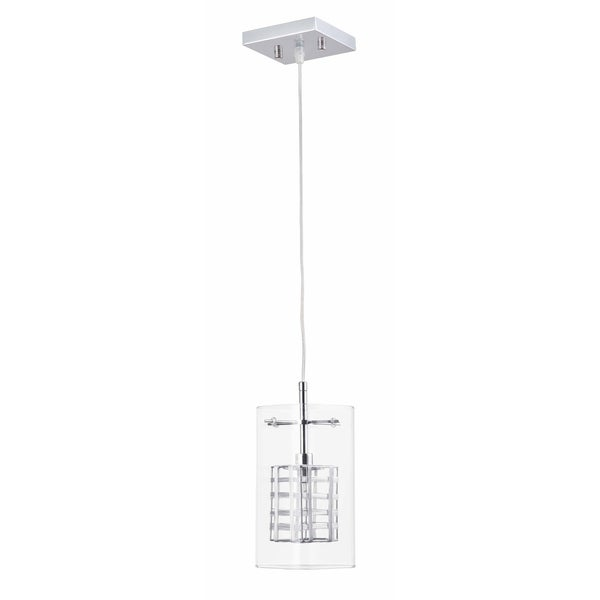 Miami Collection, One Light Pendant Fixture, Chrome Finish with Clear Glass Shade