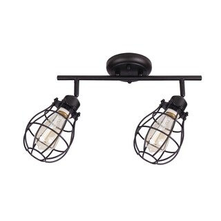 Lancy Collection, Two Light Track Fixture, Matte Black Finish with Cage Shade