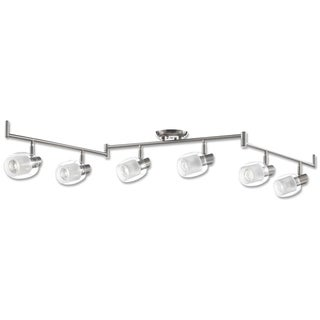 Salem Collection, Six Lights Track Fixture, Nickel Finish with Clear and Frosted Glass