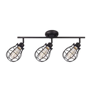 Beldi Lancy, 3 Light Track Fixture, Matte Black with Cage Shade