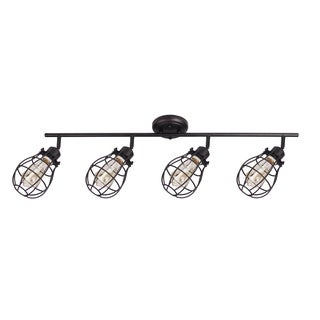 Lancy Collection, Four Light Track Fixture, Matte Black Finish with Cage Shade