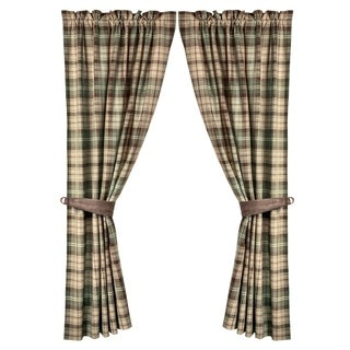 HiEnd Accents Huntsman Brown and Cream Plaid 60-inch x 84-inch 2-piece Curtain Panel Set