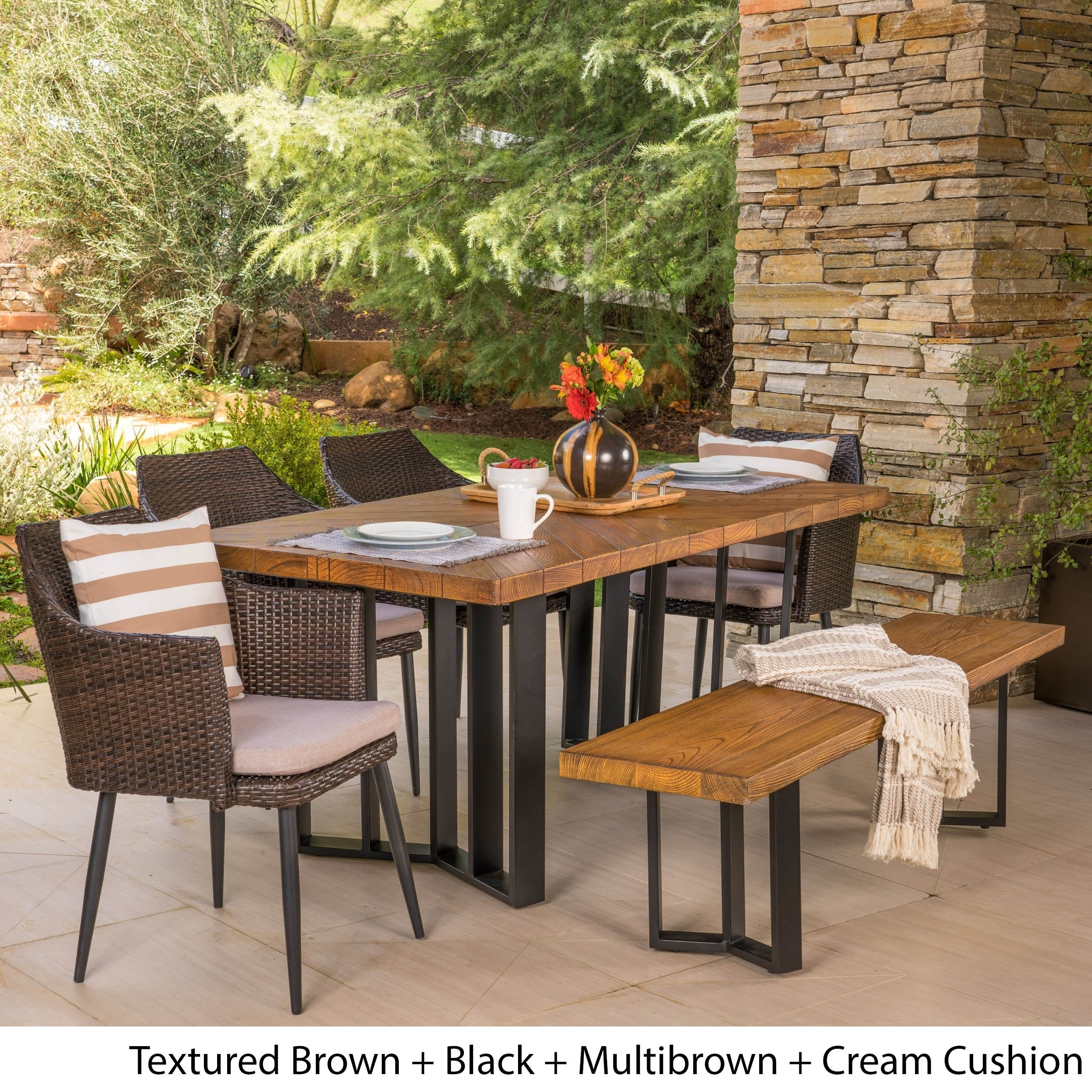Shop Zander Outdoor Dining Set With Dining Table And Bench Wicker Dining Chairs By Christopher Knight Home On Sale Overstock 20750553