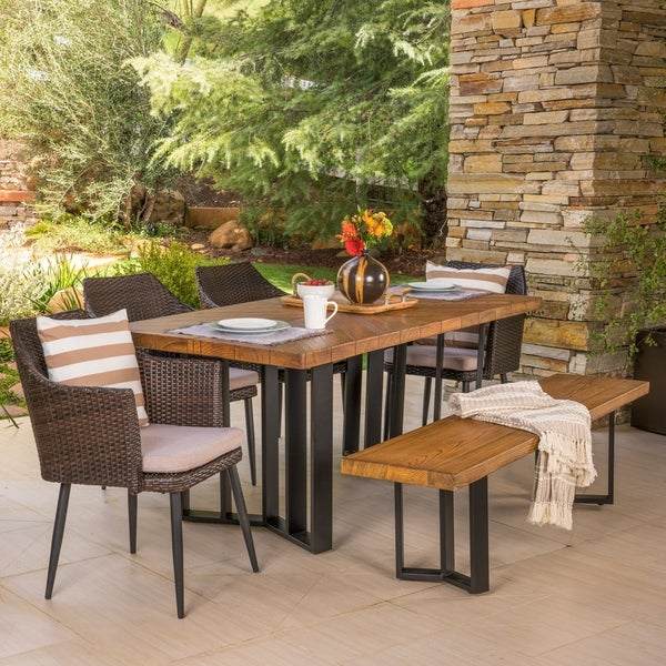 Shop Zander Outdoor Dining Set With Dining Table And Bench