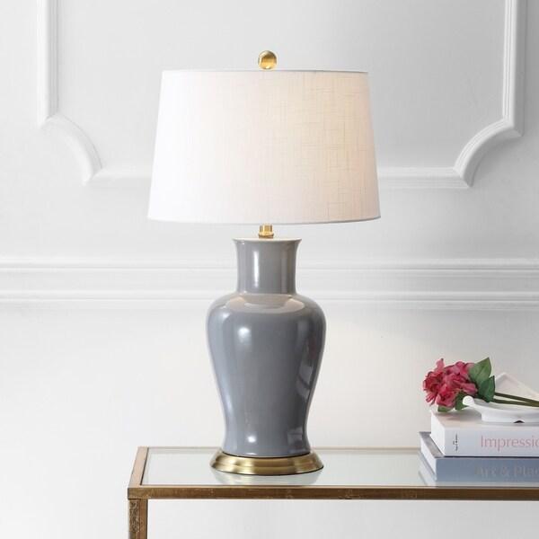 "Julian 29"" Ceramic LED Table Lamp, Gray"