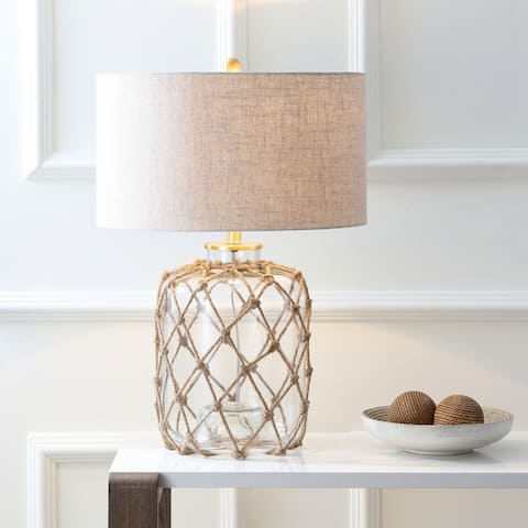 """Mer 26.5"""" Glass and Rope LED Table Lamp, Brown/Clear by JONATHAN Y"""