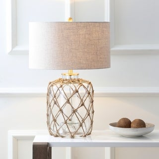 """Mer 26.5"""" Glass and Rope Table Lamp, Brown/Clear by JONATHAN Y"""