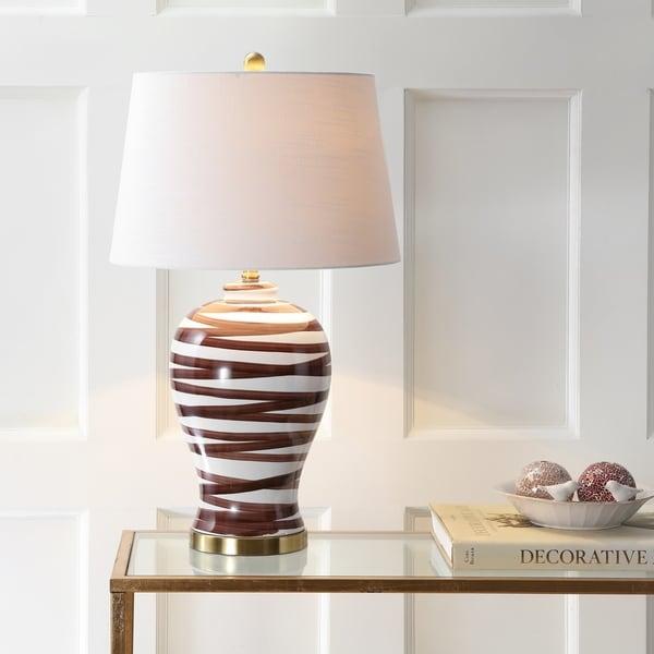 "Joelie 29"" Ceramic LED Table Lamp, Brown/White"