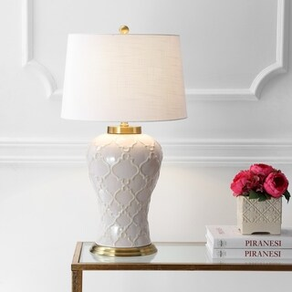 "Arthur 29"" Ceramic LED Table Lamp, Cream"