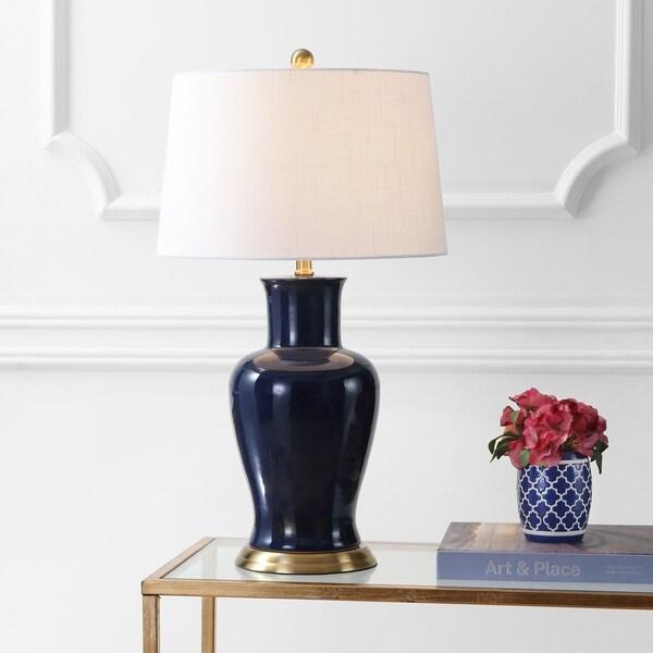 "Julian 29"" Ceramic LED Table Lamp, Navy"