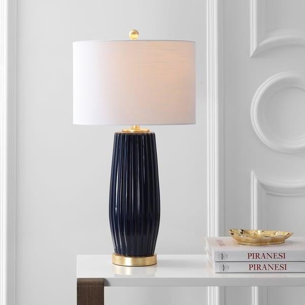 "Roman 28.5"" Ceramic LED Table Lamp, Navy"