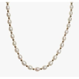 Oval White Pearl Necklace and Bracelet Set