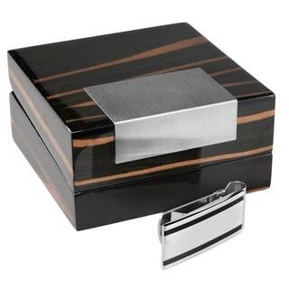 Visol Grant Polished Stainless Steel Money Clip & Kadar Wooden Case Gift Set