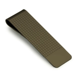 Visol Travis Dark Grey Plated Stainless Steel Money Clip with Tile Die-Stamped Pattern on Front Lid