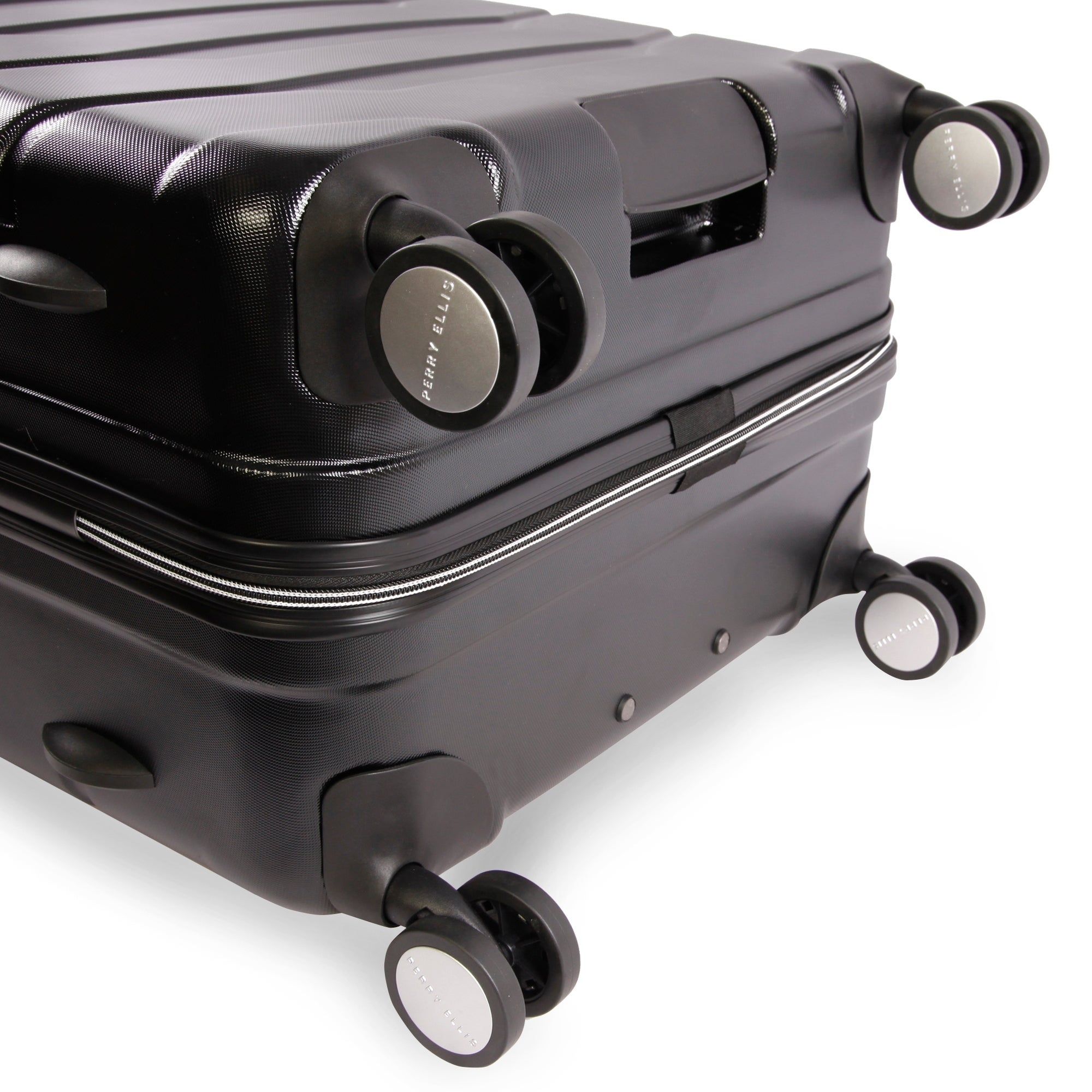 Black Perry Ellis Traction Hardside Spinner Carry On Luggage